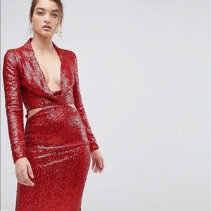 Sparkly Red Dress Unique Vintage High Fashion Cut
